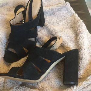 NWOT Halogen Open Toe Heeled Sandal Black Suede🖤